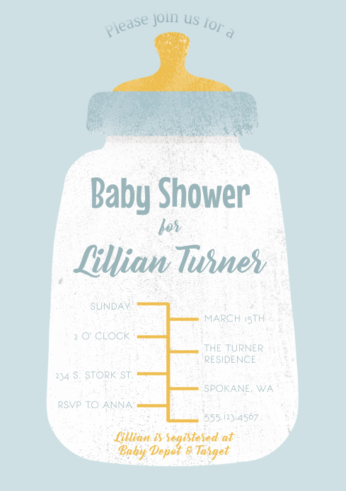 Baby Shower Blue Baby Bottle Invitation A4 template