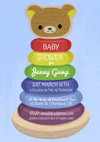 Baby Shower Blue Bear Ring Toy A4 template