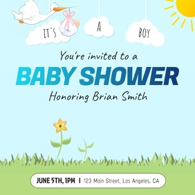 Baby Shower Boy Square Video Vierkant (1:1) template