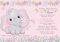 Baby Shower Cute Elephant Watercolor Floral Postcard template