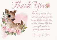 Baby Shower Deer and Roses Thank You Postcard template