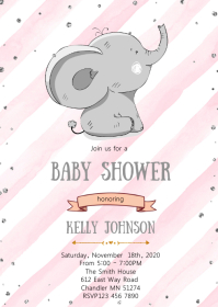 Baby shower elephant invitation