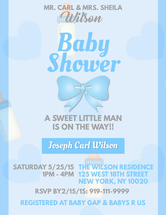 Baby Shower Boy Template Postermywall