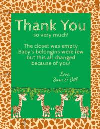 Baby Shower Giraffe Thank You