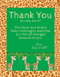 Baby Shower Giraffe Thank You