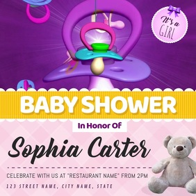 Baby Shower Girl Invitation Square Video template