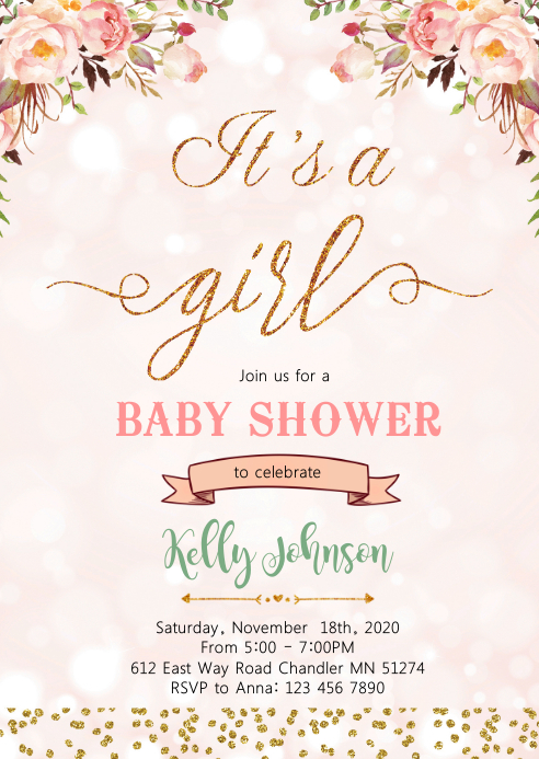 Baby shower girl party invitation
