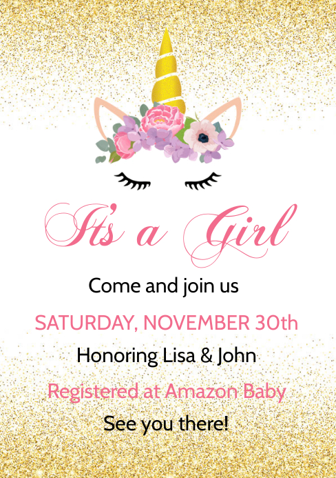 Baby Shower invitation A5 template