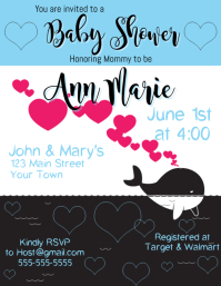 Baby Shower Invitation Whale Blue