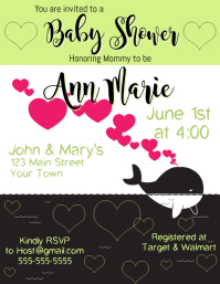 Baby Shower Invitation Whale Green