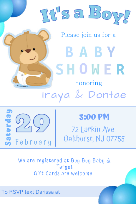 Baby Shower Invitations Banner 4' × 6' template