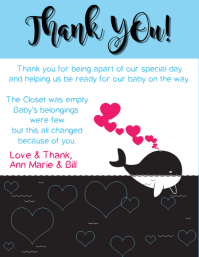 Baby Shower Thank You Whale Blue