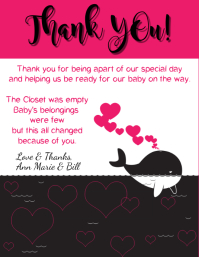 Baby Shower Thank You Whale Pink