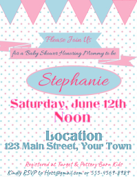Baby Shower tiny polka dots pink blue with banners