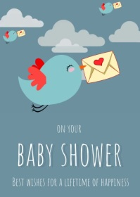 baby shower video card A6 template