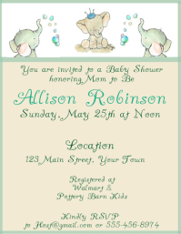 Baby Shower Watercolor Elephant