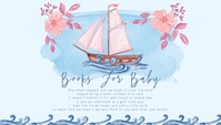 Baby Shower Whale Sailboat Books for Baby Business Card template