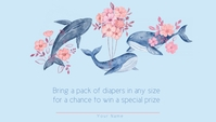 Baby Shower Whale Sailboat Diaper Raffle Business Card template
