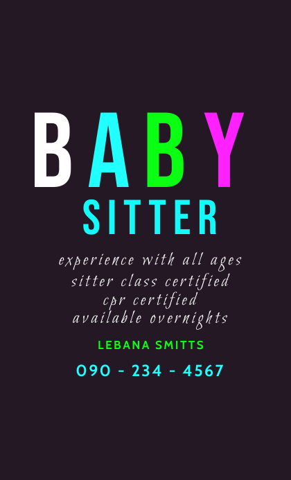 BABY SITTER FLYER US Legal template