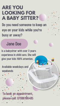 Baby sitter poster Digital Display (9:16) template
