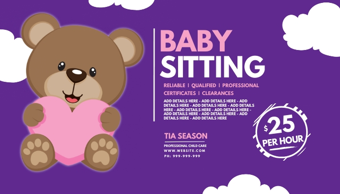 Baby Sitting Business Card template