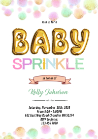 Baby sprinkle party invitation A6 template