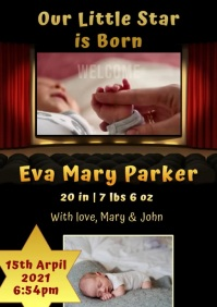 Baby video announcement A4 template