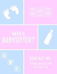 Babysitter Baby Pink Blue Flyer