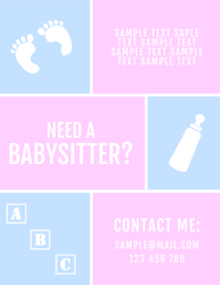 Babysitter Baby Pink Blue Flyer Volante (Carta US) template