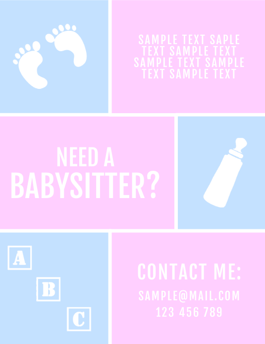 babysitter baby pink blue flyer template postermywall jpg 533x690 babysitting logos for flyers