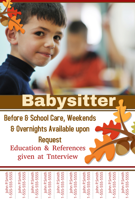 Baby sitter flyers template postermywall for Babysitting poster template