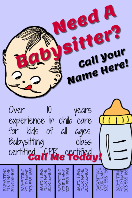 Babysitter template postermywall for Babysitting poster template