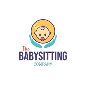 Babysitting Company Logo Logotipo template