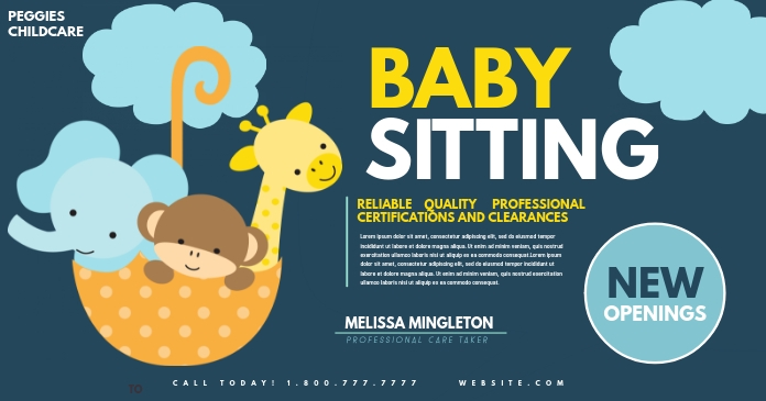 Babysitting Facebook Shared Image template