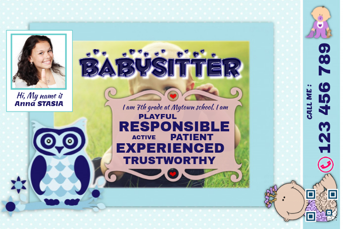 Babysitting flyers blue postermywall for Babysitting poster template