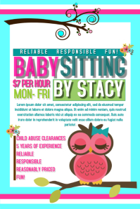 Babysitting Flyer Templates PosterMyWall - Babysitting flyer template microsoft word free