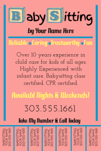 Babysitting Services Flyer Template Babysitter