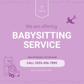 Babysitting Service Advertisement template Publicación de Instagram