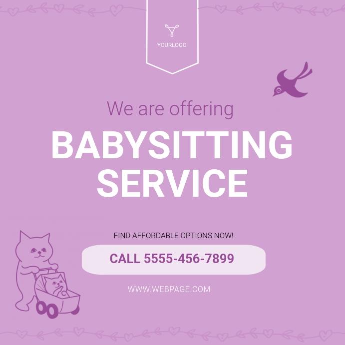 Babysitting Service Advertisement template Instagram Post