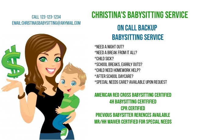 Babysitting service template postermywall for Babysitting poster template