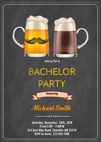 Bachelor party invitation A6 template