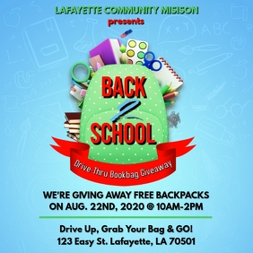 BACK 2 SCHOOL BOOKBAG GIVEAWAY FLYER TEMPLATE Instagram Post