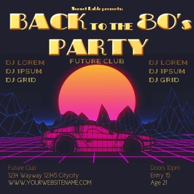 Back 80's Party template instagram post video