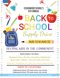 Back School Supply Drive Flyer template