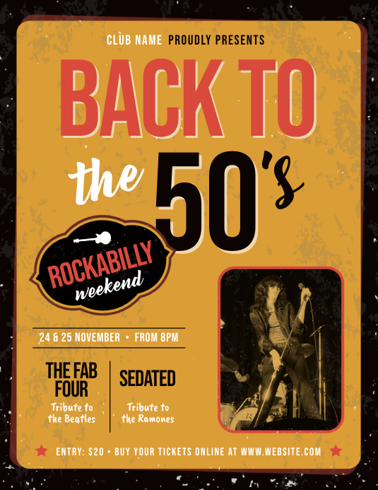 Back to 50's Music Flyer Template Folder (US Letter)