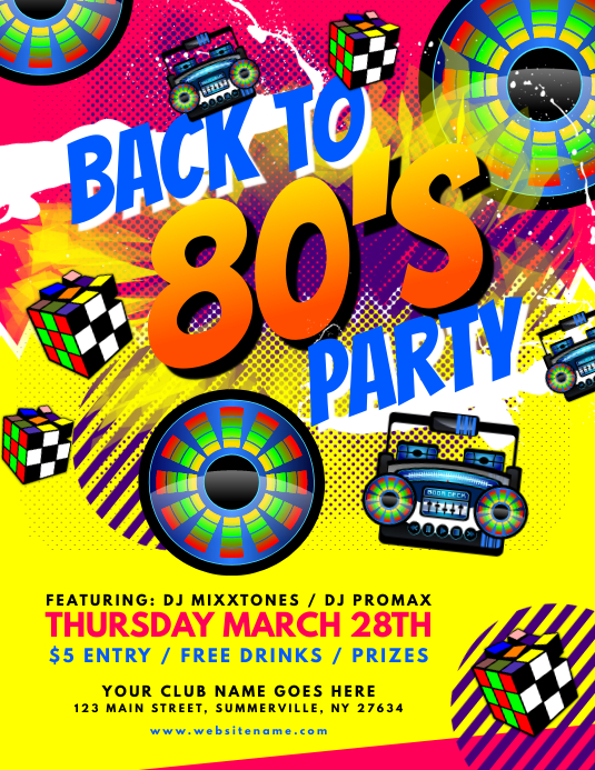 back to 80s flyer template postermywall