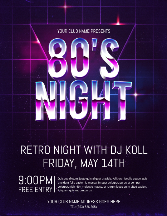 80s night flyer template