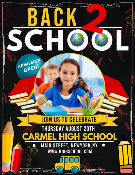 Back to school, back to school celebration Flyer (US Letter) template