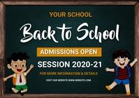 back to school, event ,school Kartu Pos template