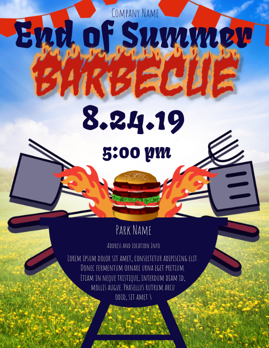 Back to school, party, barbecue, bbq, summer Folheto (US Letter) template